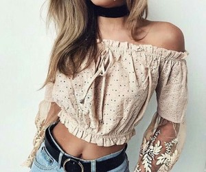 fashion, outfit, and off shoulders image