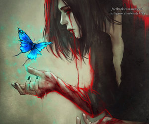 fantasy art, red tears, and blue butterfly image