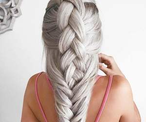 blonde, braid, and hair style image