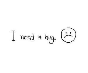 hug, sad, and text image