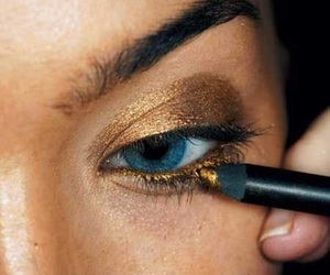 gold, make up, and eyes image