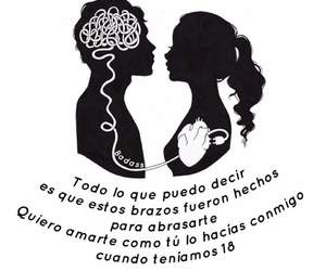abrazo, amor, and frases image