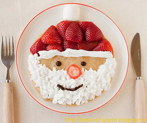 food, santa, and strawberry image