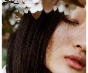 girl, asian, and flowers image