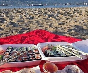 sushi, beach, and date image