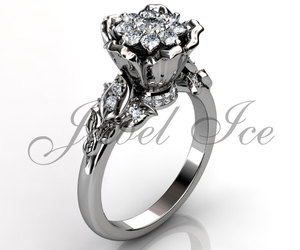 diamond ring, promise ring, and floral ring image