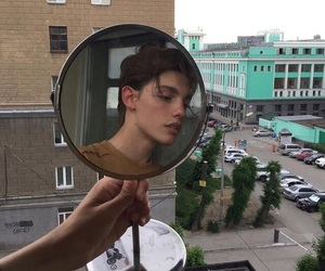 boy, city, and mirror image