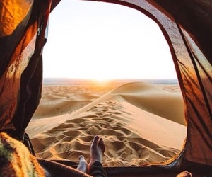 camping, desert, and sun image