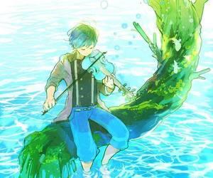 boy, violin, and water image