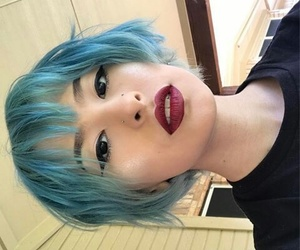 blue hair, hair, and makeup image