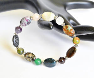 etsy, emerald stretchy bracelet, and energy bracelet image