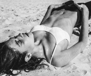 beach, sand, and woman image