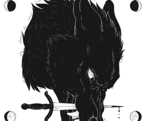 dark, knife, and black wolf image