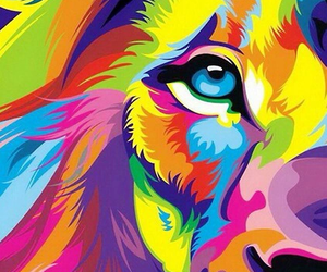 colorfull, hipster, and lion image
