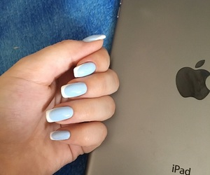 french, light blue, and manicure image