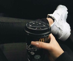 coffee, nike, and black image