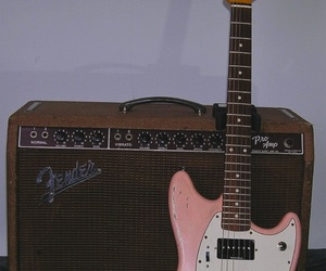 music, pink, and guitar image