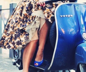 Vespa, dress, and blue image