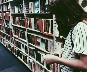 books, girl, and busy image