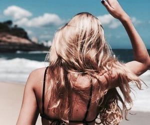 beach, sand, and bikini image