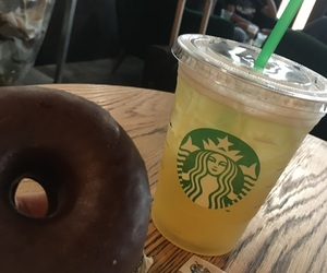 donut, starbucks drink, and drink image
