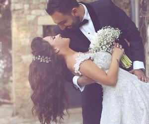 wedding, bride, and bride and groom image