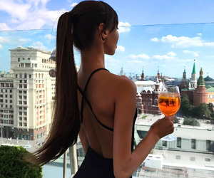 drink, hair, and style image
