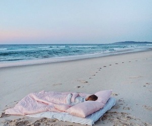 beach, sea, and sleep image