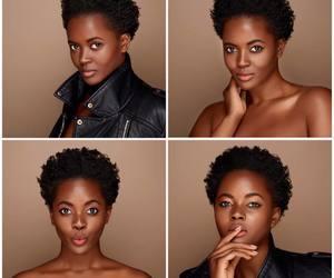 brown skin, natural hair, and short hair image