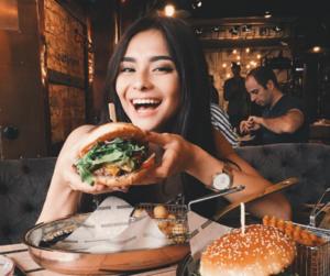 food, girl, and hamburger image