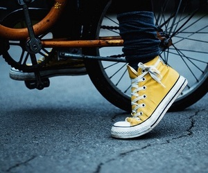 yellow, converse, and bike image