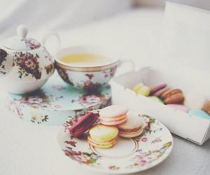 tea, food, and macarons image