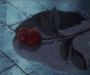 rose, rain, and anime image
