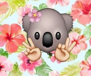 Koala, flowers, and emoji image