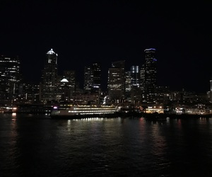 building, ferry, and nighttime image