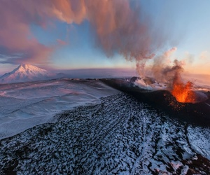 kamchatka, lava, and snow image