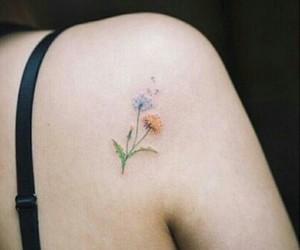 flowers, orange, and tattoo image