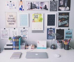 study, desk, and room image