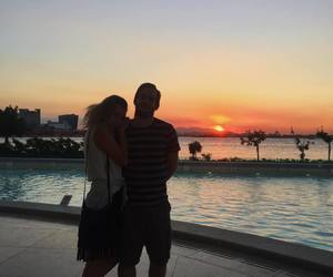 couple, sweetheart, and sunset image