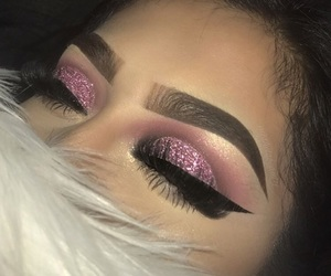 glitter, lashes, and makeup art image