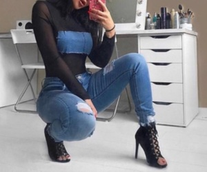 denim, outfit, and top image
