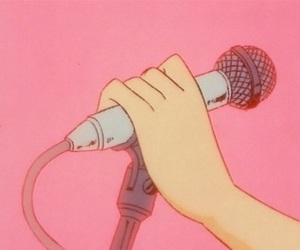 anime, microphone, and pink image