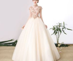 ball gown, champagne, and prom dresses image