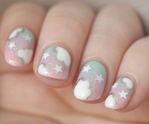 nails, clouds, and nail art image