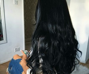 hair, black, and long hair image