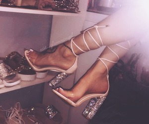 dress, shoe closet, and high heel shoes image