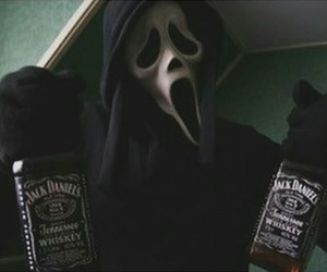 jack daniels, scream, and black and white image