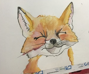 fox, drawing, and cute image