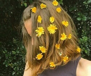 flowers, yellow, and hair image