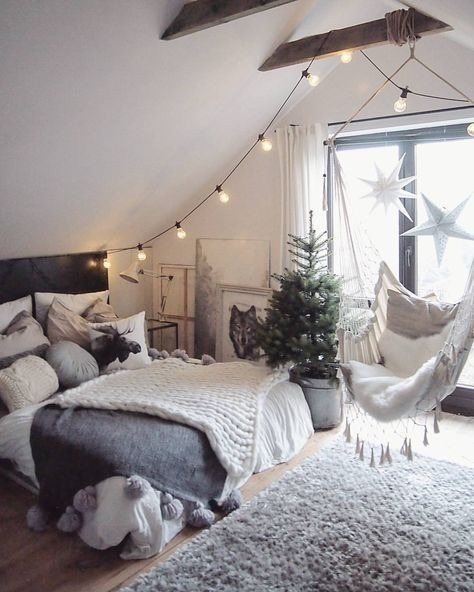 tumblr room with fairy lights and swinging chair!